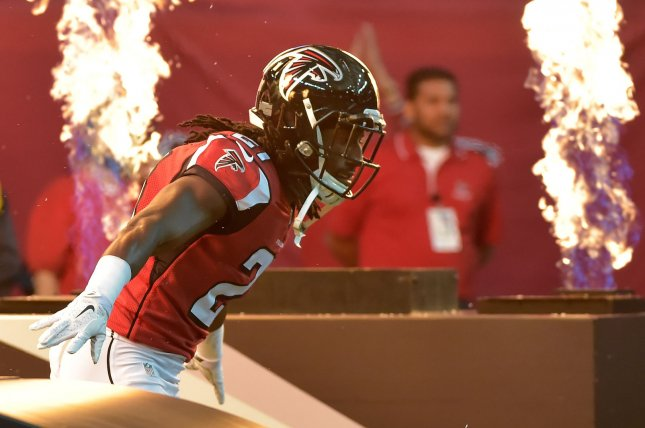 Former Atlanta Falcons cornerback Desmond Trufant signed a two-year, $20 million contract with the Detroit Lions before the 2020 season. He spent the previous seven seasons in Atlanta. File Photo by David Tulis/UPI