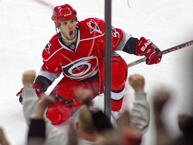 Carolina Hurricanes' Chad LaRose (59) celebrates his go ahead goal during the third period of an NHL Hockey game against the New York Rangers in Raleigh, North Carolina, April 2, 2009. LaRose had two goals in the Hurricanes 4-2 win. (UPI Photo/Karl DeBlaker)