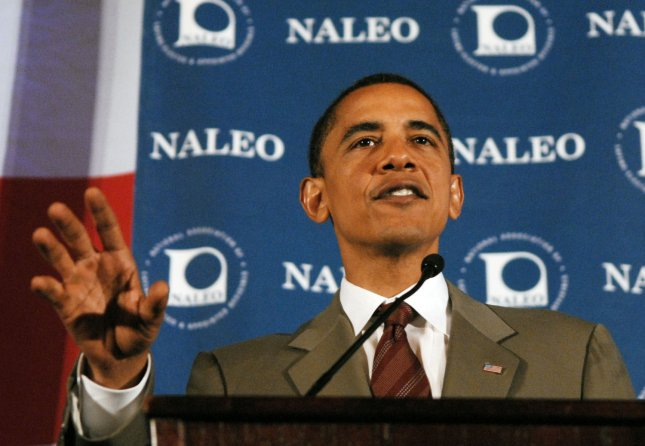 Presumptive Democratic presidential candidate Sen. Barrack Obama (D-IL) speaks at the 25th annual conference of National Association of Latino Elected and Appointed Officials (NALEO) in Washington on June 28, 2008. (UPI Photo/Alexis C. Glenn)