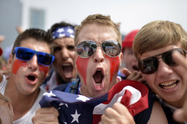 United States fans cheer before the World Cup match between the United States and Germany. (File/UPI/Brian Kersey)