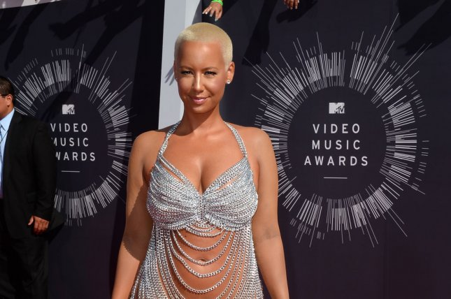 Model Amber Rose arrives at the 2014 MTV Video Music Awards at the Forum in Inglewood, California on August 24, 2014. UPI/Jim Ruymen