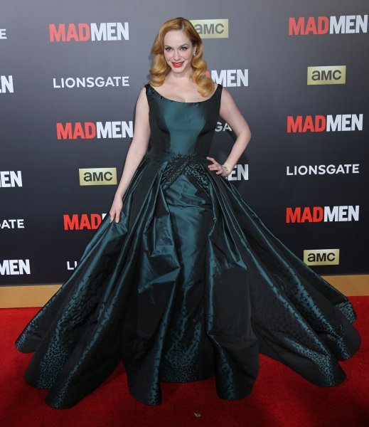Christina Hendricks in Zac Posen at the 'Mad Men' premiere Black & Red Ball on March 25, 2015. Photo by David Silpa/UPI