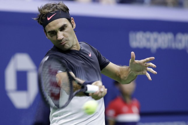 Roger Federer of Switzerland hits a forehand in the first set against Juan Martin del Potro of Argentina in the quarter-finals at the 2017 US Open Tennis Championships at the USTA Billie Jean King National Tennis Center in New York City on September 6, 2017. File photo by John Angelillo/UPI