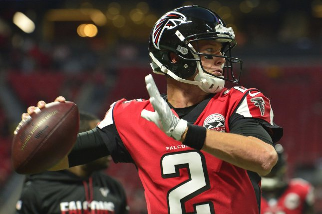 Atlanta Falcons quarterback Matt Ryan (2) before the season home opener  football game against the Green Bay Packers at the new retractable roof  Mercedes ... 435b6bf81