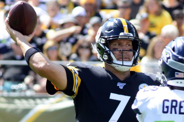 Pittsburgh Steelers quarterback Ben Roethlisberger (7) failed to throw a touchdown pass in 2019. Photo by Archie Carpenter/UPI