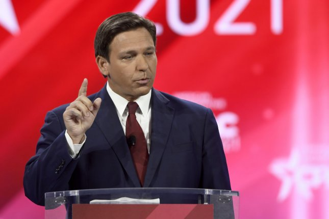 Florida Governor Ron DeSantis (shown at the Conservative Political Action Conference earlier this year) signed into law Tuesday a bill banning transgender high school students from playing women's sports. File Photo by Joe Marino/UPI