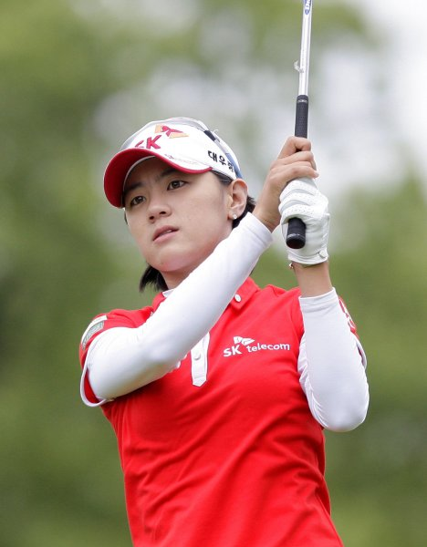 Choi Na-yeon, shown at a 2011 tournament, owns a one-stroke lead at the halfway mark of the Women's British Open. UPI/John Angelillo