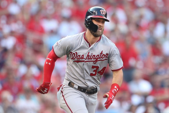 Bryce Harper and the Washington Nationals face the New York Mets. Photo by Bill Greenblatt/UPI