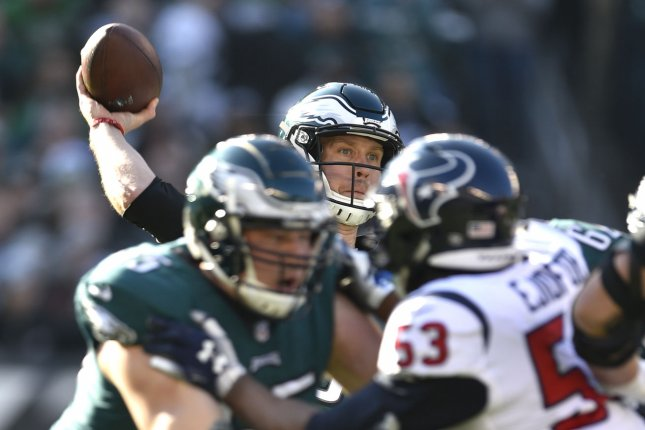 Philadelphia Eagles quarterback Nick Foles (9) throws the ball against the Houston Texans on December 23 at Lincoln Financial Field in Philadelphia. Photo by Derik Hamilton/UPI