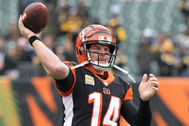 best sneakers 52600 b443d Cincinnati Bengals quarterback Andy Dalton (14) throws during warmups  before a game against the Pittsburgh Steelers on October 14 at Paul Brown  Stadium in ...