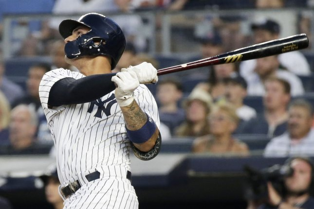 New York Yankees slugger Gleyber Torres belted his 10th home run of the season playing against the Baltimore Orioles. He has 12 total homers this year. File Photo by John Angelillo/UPI