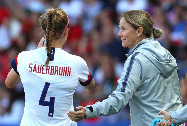U.S. Women's National Team Head Coach Jill Ellis (R) announced Tuesday that she will step down in October following the celebration of the team's World Cup victory. Photo by David Silpa/UPI