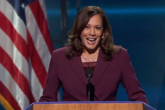 Sen. Kamala Harris officially accepted the nomination to be the Democratic candidate for vice president during the third night of the Democratic National Convention Wednesday. Photo by UPI