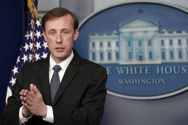 National security adviser Jake Sullivan speaks during a press briefing at the White House in Washington on Monday. Photo by Yuri Gripas/UPI
