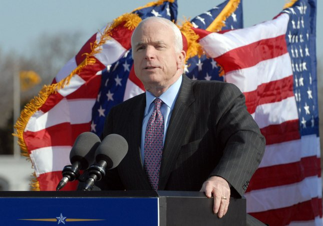 Presumptive Republican presidential nominee Sen. John McCain, R-AZ, calls on Americans to do more to serve their country during a speech at the U.S. Naval Academy in Annapolis, Maryland, on April 2, 2008. McCain graduated from the United States Naval Academy in 1958. (UPI Photo/Roger L. Wollenberg)