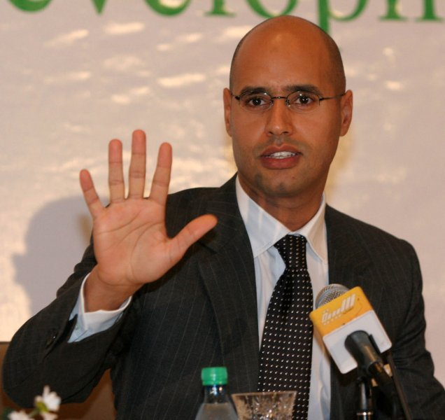 Undated file photo shows Seif al-Islam, son of Libyan leader Moammar Gadhafi. The Libyan strongman's wife Safia, two sons Hannibal and Mohammed and daughter Aisha entered Algeria on August 29, 2011 according to the Algerian Foreign Ministry. UPI