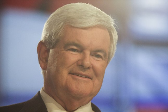 Former House Speaker Newt Gingrich is shown on stage at the Sullivan Arena at Saint Anselm College for the CNN-sponsored Republican Presidential debate in Manchester, New Hampshire on June 13, 2011. UPI/Ryan T. Conaty