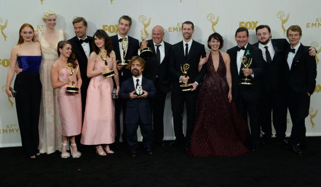The cast and crew of Game of Thrones, winners of the award for Outstanding Drama Series, pose at the 67th Primetime Emmy Awards in Los Angeles on September 20, 2015. Photo by Jim Ruymen/UPI