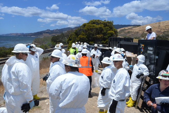Plains All American handed revised 11-page corrective action order before it can restart a pipeline network in California. Sheen spread several miles from the site of the spill off the coast of Refugio State Beach last year. Photo by Jim Ruymen/UPI