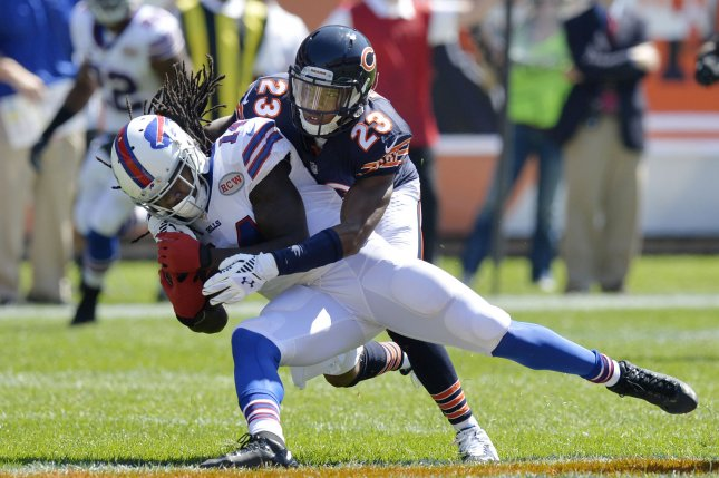 Chicago Bears cornerback Kyle Fuller (R) tackles Buffalo Bills wide receiver Sammy Watkins after a 25-yard reception during the first quarter at Soldier Field on September 7, 2014 in Chicago. UPI/Brian Kersey