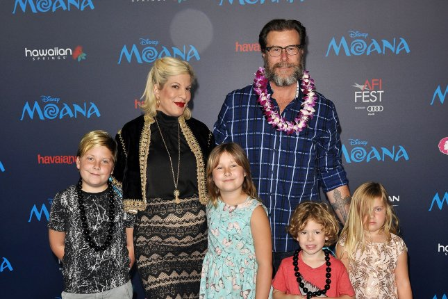 Tori Spelling, Dean McDermott and children Liam, Stella, Finn and Hattie attend the Los Angeles premiere of Moana last November. The couple rang in 11 years of marriage Sunday. File Photo by Christine Chew/UPI