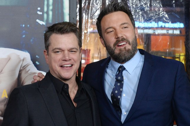 (L-R) Matt Damon and Ben Affleck along with a number of other celebrities starred in a comedic comic book short Monday in honor of Jimmy Kimmel's 50th birthday. File Photo by Jim Ruymen/UPI