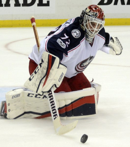 Sergei Bobrovsky and the Columbus Blue Jackets take aim at the Washington Capitals in the first round of the NHL playoffs. Photo by Archie Carpenter/UPI