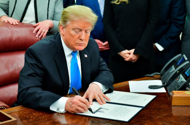 President Donald J. Trump signed ad directive last month for the Department of Defense to establish the the United States Space Force as the sixth branch of the Armed Forces. On Wednesday, Acting Defense Secretary Patrick Shanahan said the new military branch was needed to maintain 'dominance' in space. File Photo by Kevin Dietsch/UPI.