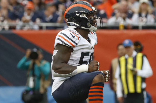 Chicago Bears inside linebacker Danny Trevathan missed seven games in 2019 due to a left elbow injury. File Photo by Kamil Krzaczynski/UPI