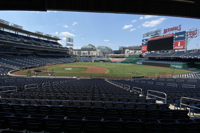 The Washington Nationals participate in the first day of training camp Friday at Nationals Park in Washington, D.C. The Nationals will play the New York Yankees on opening night July 23. File Photo by Kevin Dietsch/UPI
