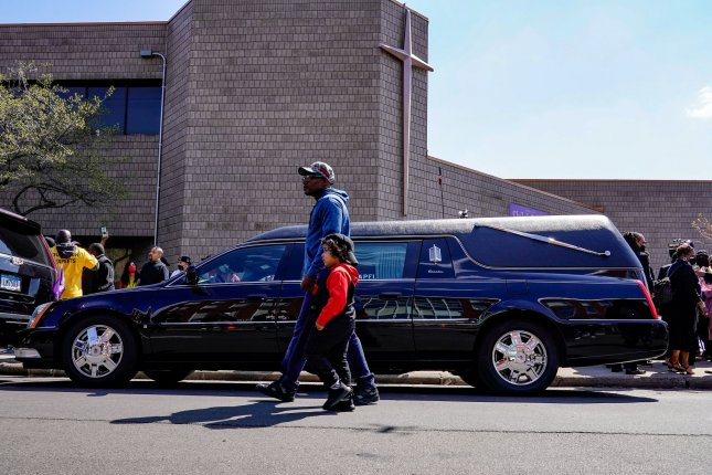 A hearse carries the body of Daunte Wright at Shiloh Temple in Minneapolis, Minn., on April 22. Photo by Jemal Countess/UPI