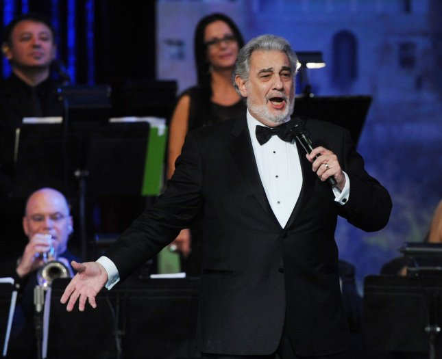 Honoree Placido Domingo performs during the Latin Grammy Person of the Year Awards at the Mandalay Bay in Las Vegas, Nev., on November 10, 2010. In Slovakia, a woman was arrested for playing Domingo's version of La Traviata for 16 years. File Photo by Jim Ruymen/UPI