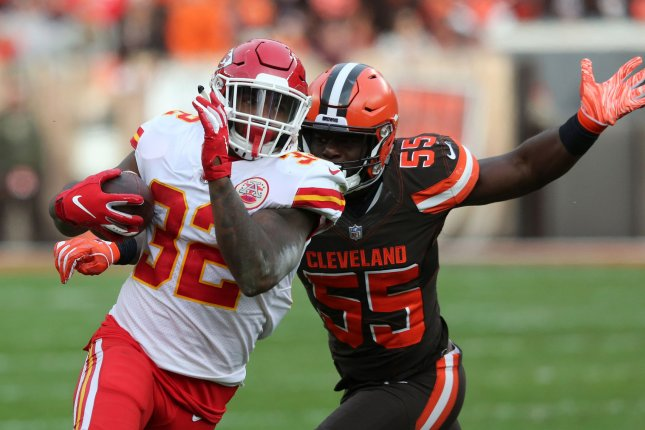 Kansas City Chiefs running back Spencer Ware runs as Cleveland Browns defender Genard Avery pursues on November 4 at First Energy Stadium in Cleveland, Ohio. Photo by Aaron Josefczyk/UPI
