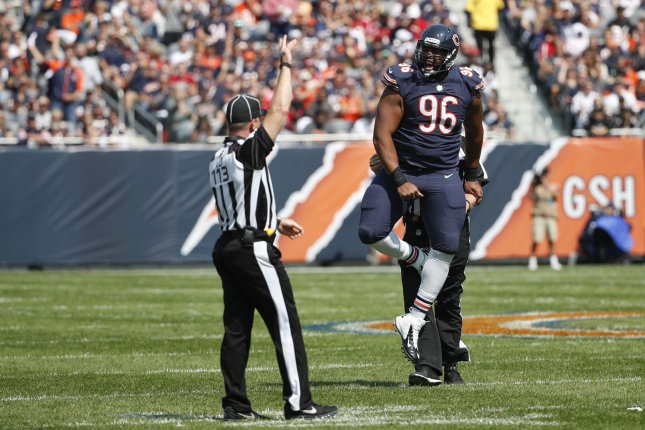 Chicago Bears defensive lineman Akiem Hicks (96) reacts after a defensive play against the Atlanta Falcons during the first half on September 10, 2017 at Soldier Field in Chicago. File photo by Kamil Krzaczynski/UPI
