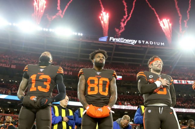 Cleveland Browns wide receiver Odell Beckham Jr. (13) has been dealing with a groin or sports hernia injury since training camp. File Photo by Aaron Josefczyk/UPI
