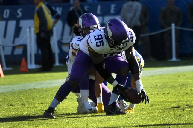 Minnesota Vikings defensive end Ifeadi Odenigbo (95) scored on a 56-yard fumble return in the second quarter of a win against the Los Angeles Chargers Sunday in Carson, Calif. Photo by Jon SooHoo/UPI