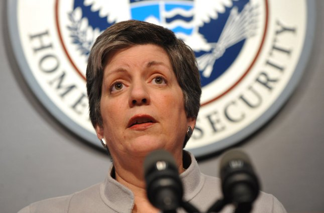 Secretary of Homeland Security Janet Napolitano speaks during a news conference on the H1N1 flu outbreak May 4, 2009. (UPI Photo/Kevin Dietsch)