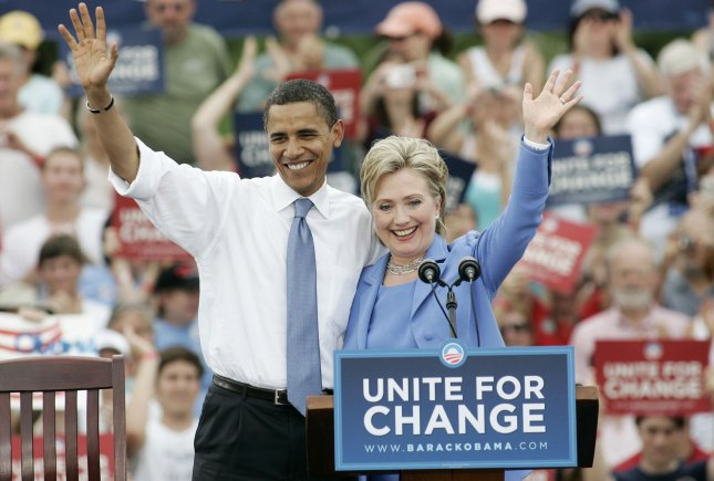 Presumptive Democratic Presidential Nominee Sen. Barack Obama, D-IL, and Sen. Hillary Rodham Clinton, D-NY, campaign together for the first time since Clinton dropped out of the race in Unity, New Hampshire, on June 27, 2008. (UPI Photo/Matthew Healey/File)