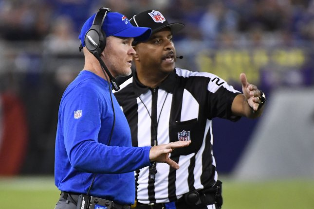 Buffalo Bills head coach Sean McDermott talks with field judge Adrian Hill (29) during the first half of an NFL preseason game at M&T Bank Stadium in Baltimore, Maryland, August 26, 2017. File photo by David Tulis/UPI