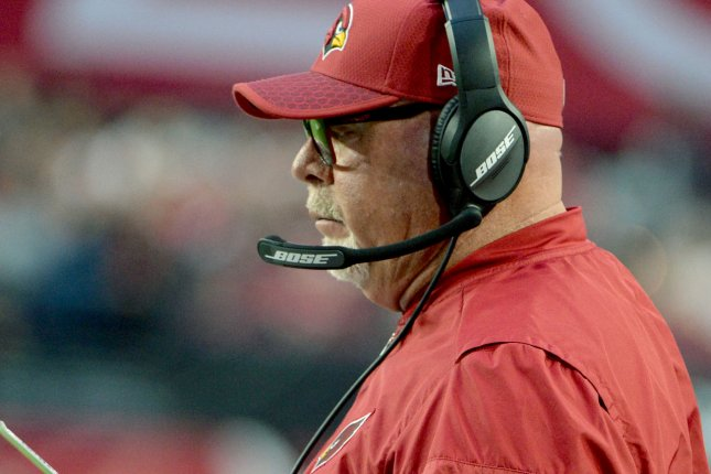 Former Arizona Cardinals coach Bruce Arians watches from the sidelines during a game against the New York Giants at University of Phoenix Stadium in Glendale, Arizona on December 24, 2017. Photo by Art Foxall/UPI