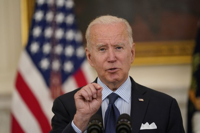 President Joe Biden delivers remarks on the COVID-19 response and the vaccination program from the State Dining Room of the White House in Washington, D.C., on Tuesday. Photo by Alex Edelman/UPI