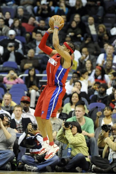 Detroit Pistons guard Allen Iverson (1) scores two points on a jump shot in the 1st half against the Washington Wizards at the Verizon Center in Washington on December 9, 2008. (UPI Photo/Mark Goldman)