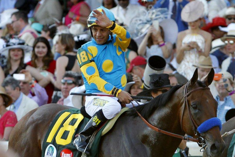 American Pharoah jockey Victor Espinoza will donate his winnings to children's cancer charity City of Hope. File photo by John Sommers /UPI