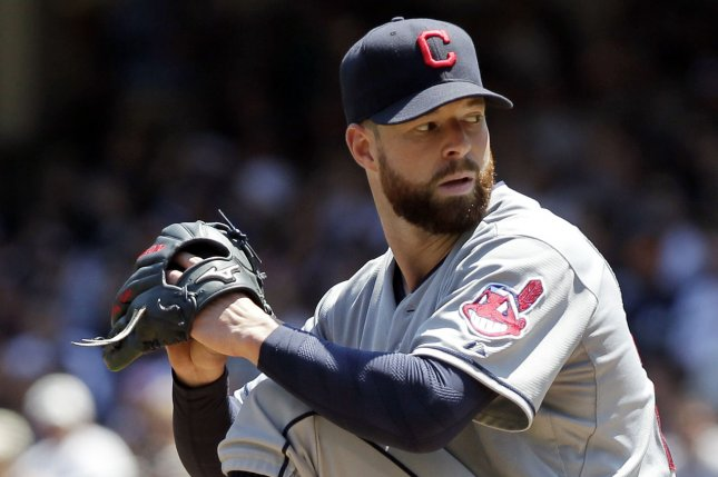 Cleveland Indians starting pitcher Corey Kluber. UPI/John Angelillo