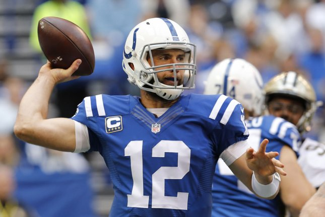 Indianapolis Colts quarterback Andrew Luck (12). File photo by John Sommers II/UPI
