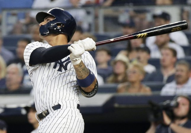 Gleyber Torres and the New York Yankees face the Detroit Tigers on Sunday. Photo by John Angelillo/UPI