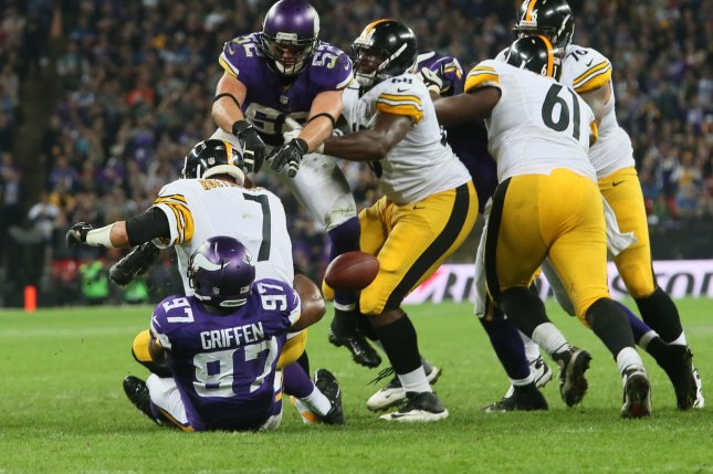Pittsburgh Steelers quarterback Ben Roethlisberger (7) is sacked by Minnesota Vikings defensive end Everson Griffen (97) on September 29, 2013 at Wembley Stadium in London. File photo by Hugo Philpott/UPI