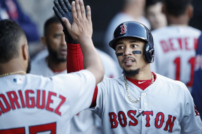 Boston Red Sox star Mookie Betts (R) had two hits in a win against the Cleveland Indians on Monday in Boston. File Photo by Kamil Krzaczynski/UPI