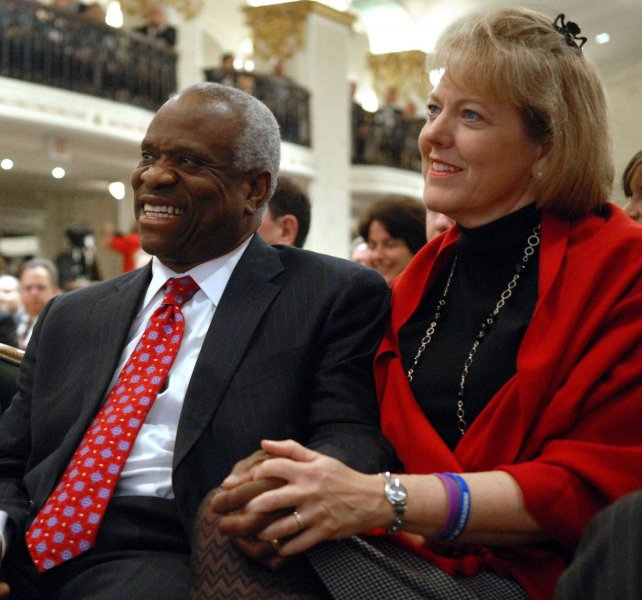 Virginia Thomas, wife of U.S. Supreme Court Justice Clarence Thomas, has asked for an apology from Anita Hill, who accused the justice of sexual harassment during his confirmation hearings in 1991. Virginia left a voice main message on Hill's phone a few days ago it was announced October 20, 2010. In this November 15, 2007 file photo, the justice and his wife Virginia are showing prior to him speaking about his book My Grandfather's Son to the Federalist Society in Washington, DC. UPI/Roger L. Wollenberg/File