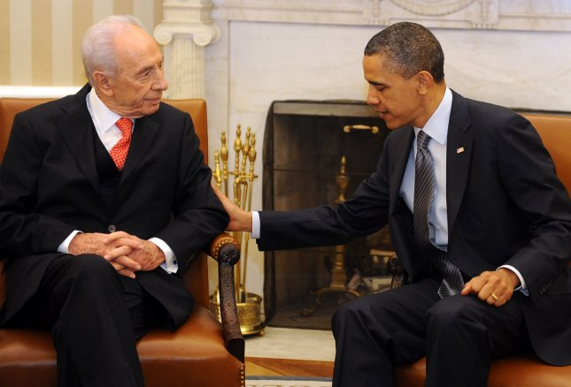 U.S. President Barack Obama meets with Israeli President Shimon Peres in the Oval Office of the White House in Washington on April 5, 2011. UPI/Roger L. Wollenberg